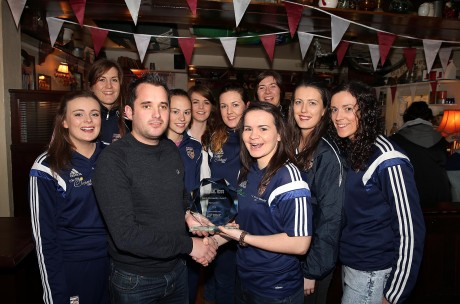 Chris McNulty presents the Donegal News Sports Personality of the Month award for November in association with Brian McCormick Sports to Geraldine McLaughlin, captain of the victorious All-Ireland winning Termon ladies team. Picture: Declan Doherty