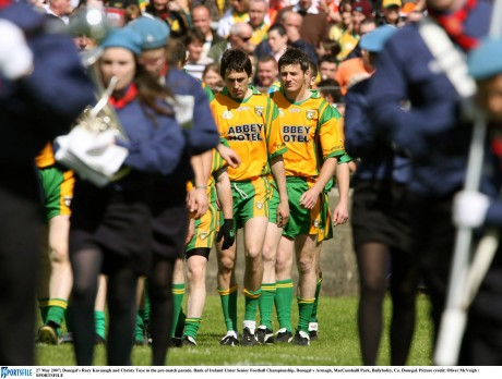 Rory Kavanagh and Christy Toye in the pre-match parade ahead of the Ulster Senior Football Championship game against Armagh in Sean MacCumhaill Park back in 2007. Picture: Oliver McVeigh / SPORTSFILE
