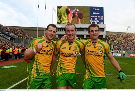 Michael Murphy, Neil Gallagher and Eamon McGee after the 2012 All-Ireland final. Photo: Stephen McCarthy/SPORTSFILE