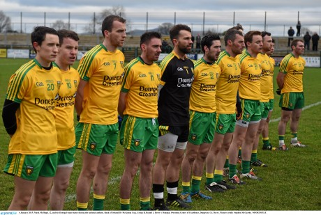 The Donegal team line up before the game.