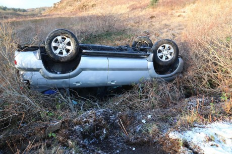 The overturned jeep on the Glen Road between Loughanure and Annagry on Thursday morning.