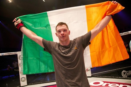 Proud Irishman Joseph Duffy celebrates following his return to MMA. Photos: Copyright Dolly Clew/Cage Warriors