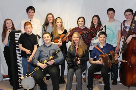 Letterkenny's young trad band Coirm are playing support to the Sea Road Sessions group at An Grianan Theatre on Tuesday night. Pictured are, standing from left, Amy Clarke, Ronan Kelly, Rory McLaughlin, Caoimhe Doherty, Stephanie Greenan, Caoibhe O'Raghailligh, Affraic Brophy, Donal Farren and Kevin Kinsella; and, seated, Eoin Orr, Ella Doherty and Liam Orr.