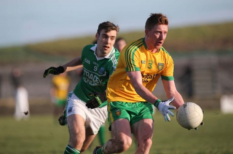 Donegal's Daniel McLaughlin gets away from Fermanagh's Conall Jones.