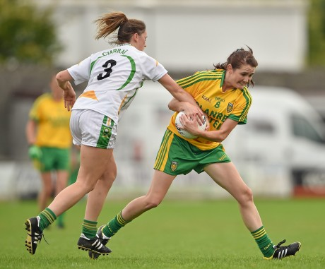 Katy Herron, Donegal, in action against Aisling Leonard, Kerry.