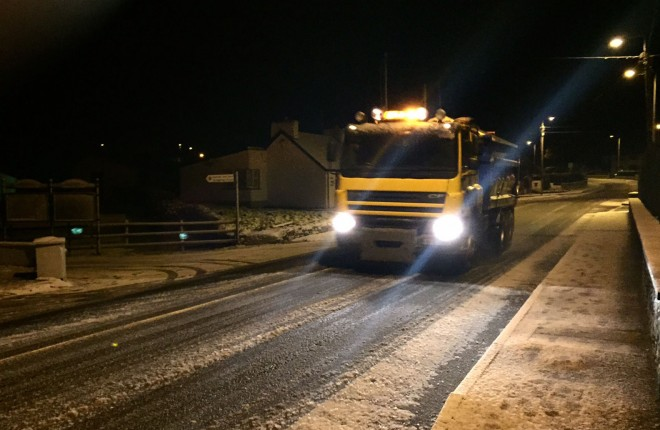 FLASHBACK: A council gritter on the N56 road at Loughanure. Photo: Eoin McGarvey
