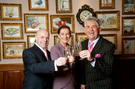 oteliers Marc Gysling and Deirdre McGlone celebrate with general manager Noel Cunningham, a 'hat trick' of success at Harvey's Point Hotel Donegal, following the announcement that Harvey's Point