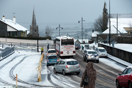 Difficult weather conditions in Letterkenny on Thursday morning during the morning rush hour.