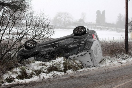 This car crashed of the Kilmacrennan to Milford road on Tuesday morning.