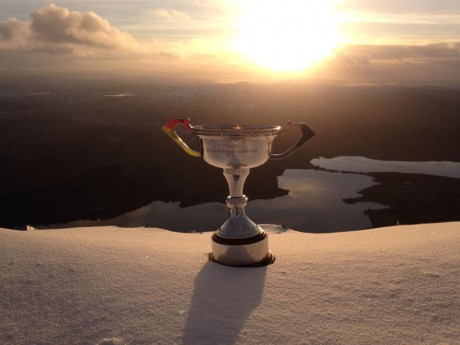 The Dolores Tyrrell Memorial Cup at the top of Errigal today. Photo: Grainne McDaid