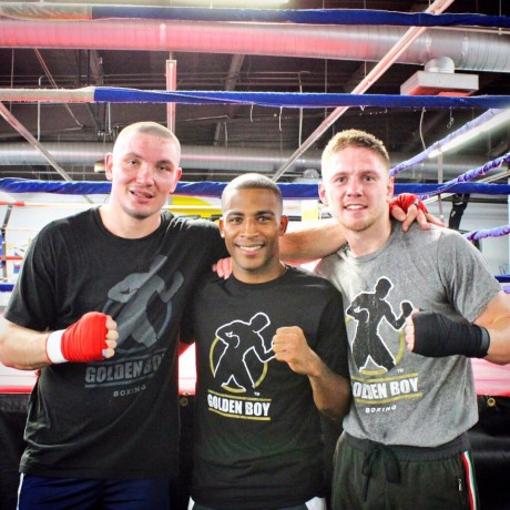 Slava Shabranskyy, Everton Lopes and Jason Quigley in sparring. Photo: Golden Boy Promotions