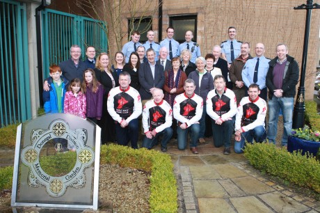 Some of the many that made the charity cycle from Mizen to Malin pictured at the Presentation of 40,000 at Letterkenny Garda Station. Photo: Brian McDaid