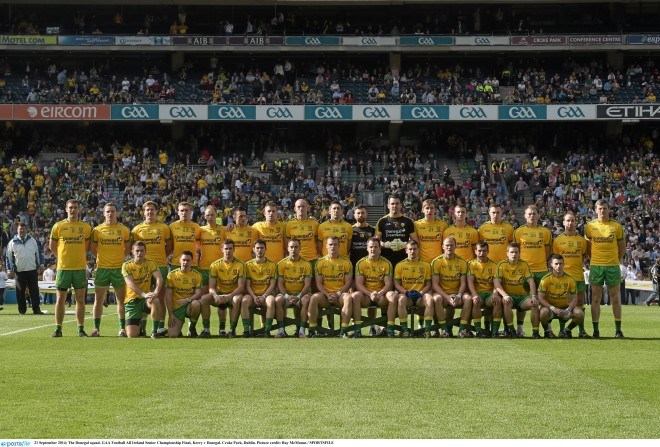 The 2014 Donegal squad, pictured before the All-Ireland final.