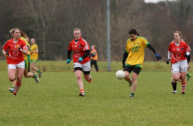 Aoife McDonnell playing for Donegal earlier this year. Photo: Declan Doherty