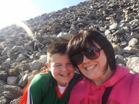 Jon Callaghan with his mother Margaret on top of Knocknarea, Sligo.