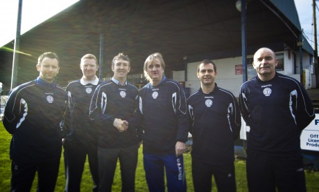 New Finn Harps U17 manager Declan Boyle is welcomed by the Harps management team James Gallagher, William O'Conner, Ollie Horgan, Niall McGonagle and Trevor Scanlon.  Photo by Ciaran McLochlainn.