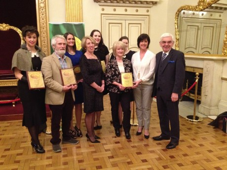 Donegal Winners Group, Kee's Hotel - presented by Chair Person Valerie Jupp and Director (right) Peter Malone