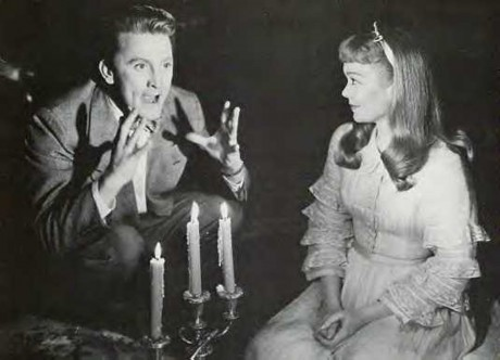 A screenshot of Kirk Douglas and Jane Wyman in the movie adaptation of The Glass Menagerie (1950).