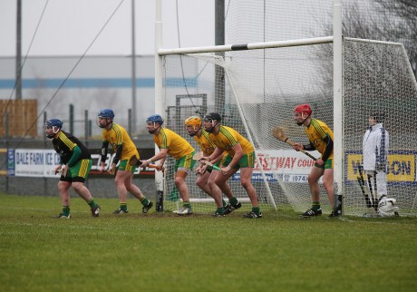Donegal players defend the goal against a Mayo free at O'Donnell Park on Sunday. Photo: Declan Doherty