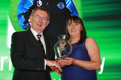 Brid McGinty winner of the Appreciation Award which was presented by guest Sean O'Rourke. Photo: Brian McDaid
