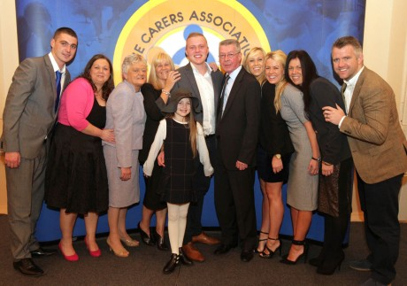 Kathleen Sweeney, third from left, and Jamie (centre) at the awards ceremony with family members.