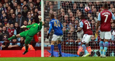Shay Given makes a fine save to thwart Matt James last Sunday.