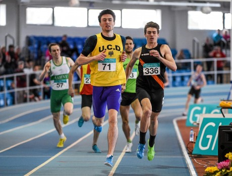 Mark English on his way to winning the Irish Indoor 800m title. Photo: Sportsfile