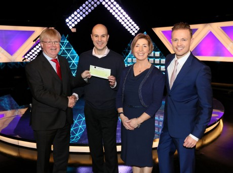 Didier Hosain from Letterkenny, who won €25,000 on the National Lottery's The Million Euro Challenge game show on RTE on Saturday. Pictured at the presentation of prizes are from left to right: Eddie Banville, Head of Marketing, The National Lottery; Didier Hosain the winning player; Didier's wife Tina Hosain, who was his guest support on the show and The Million Euro Challenge Host Nicky Byrne. The winning ticket was bought from The Post Office, Belmullet, Ballina, Co. Mayo. Pic: Mac Innes Photography.