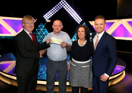 Pat Molloy from Dungloe, who won €22,000. Pictured are from left to right: Eddie Banville, Head of Marketing, The National Lottery; Pat Molloy, the winning player, Pat's daughter Brenda Mc Geehan, who was his guest support on the show and The Million Euro Challenge Host Nicky Byrne. The winning ticket was bought from XL, 101 Lower Main Street,Letterkenny.