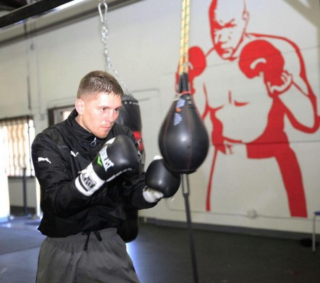 Jason Quigley in preparation for his bout with Lanny Dardar. Photo courtesy Golden Boy Promotions