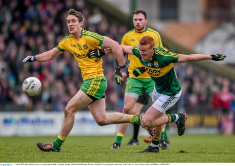 Donegal's Hugh McFadden in action against Kerry's Johnny Buckley. Photo: David Maher/Sportsfile