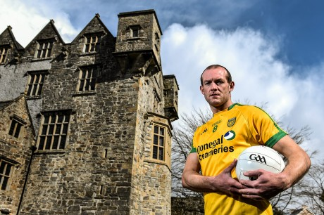 Donegal footballer Neil Gallagher poses for a portrait at Donegal Castle. Picture credit: Ramsey Cardy / SPORTSFILE