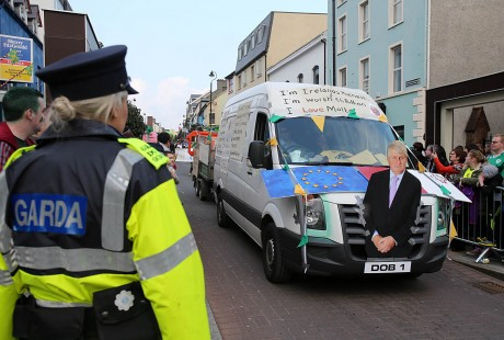 A water charges protest float in the Letterkenny St. Patrick's Day parade.