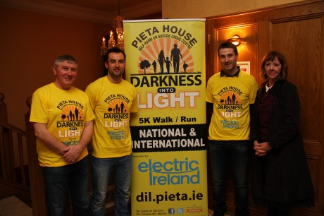 Martin McHugh GAA Personality, Karl Lacey Donegal Senior Footballer, Rory Gallagher Donegal Manager, and Joan Freeman Founder of Pieta House  at the Darkness into Light Launch.