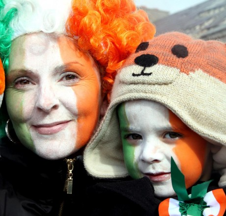 Frances and Declan Meehan all painted up in Gweedore on St Patrick's Day last year.