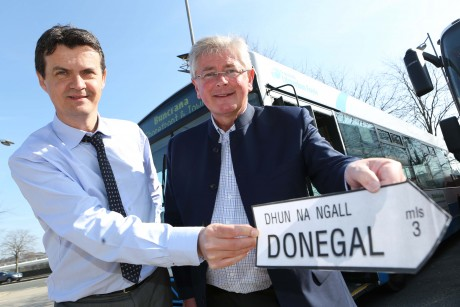 (L-R) Translink Assistant Service Delivery Manager, Tony McDaid and Translink Ambassador Michael Doran launch the new Ulsterbus Service to Buncrana.