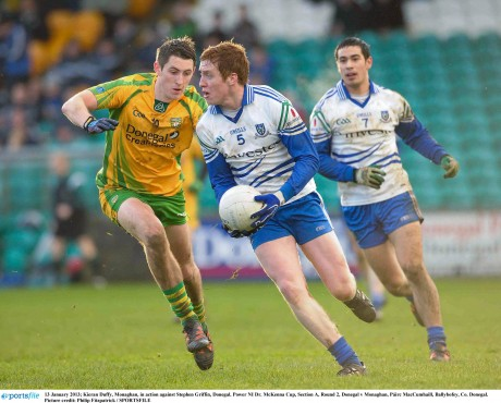 Stephen Griffin challenges Monaghan's Kieran Duffy in the 2013 Dr McKenna Cup - the St Naul's man's last game for Donegal before he returned to make a vital contribution in Castlebar on Sunday.