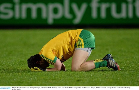 Eoin McHugh is the picture of dejection last year as Donegal lost to Cavan in the final