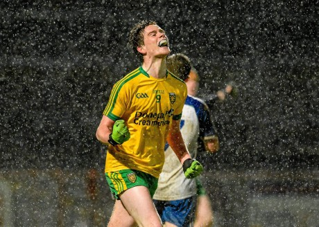 Ciaran Thompson, Donegal, celebrates after scoring his side's fourth goal.