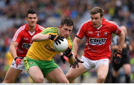 Patrick McBrearty, Donegal, in action against James Loughrey, Cork.  Photo: Ray McManus / SPORTSFILE