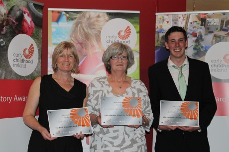 Early Learning Schools team Sally O'Donnell (centre), Noreen McConigley and Eoin McConigley pictured receiving three awards at the recent Early Childhood Ireland 'Play on the Brain' conference in Dublin. Glen Outdoor School won two learning stories awards as well as the overall award.