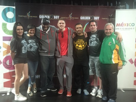 Jason Quigley (centre) pictured at the weigh in with, from left: his girlfriend April McManus; Rachel Charles of Sheer Sports Management; coach Courage Tshabalala; coach Manny Robles; Donegal News Sports Writer Chris McNulty; and Donegal Boxing Board President Peter O'Donnell.