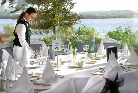 The Lakeside Restaurant at Harvey's Point Hotel, overlooking Lough Eske, Donegal town.