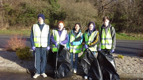 Letterkenny Venture Scouts duringtheir clean up activities in Newmills