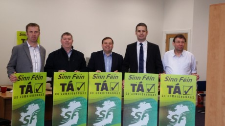 Pictured Cllr Liam Doherty, Cllr Gerry McMonagle, Padraig MacLochlainn TD, Pearse Doherty TD, Cllr Albert Doherty