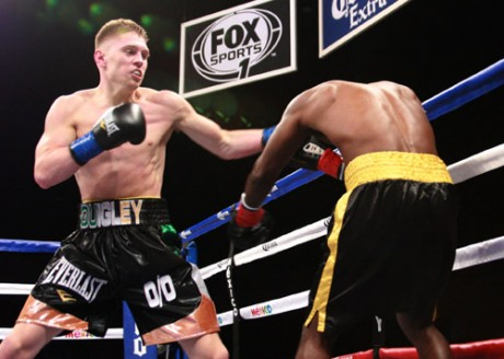 Jason Quigley on his way to victory over Tolutomi Agunbiade.