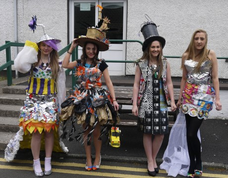 Art students from St. Columba's College, Stranorlar, modelling their fashion garments made from recyclable materials. They took part in the Trash 'N' Fashion competition at the Northwest Garden Show.