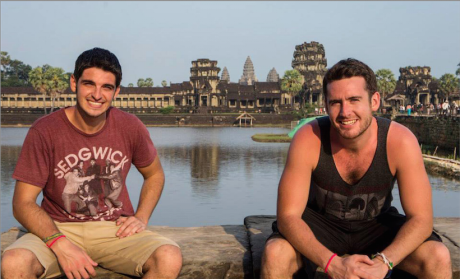 Paul (right) with fellow digital nomad Tim Petch outside Angkor Wat, Cambodia, one of the world wonders.
