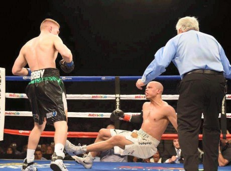 Jason Quigley sends Joshua Snyder hurtling to the canvas at Fantasy Springs.