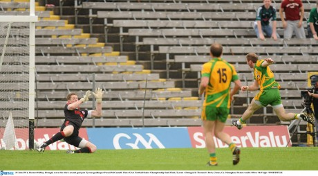 Dermot Molloy, Donegal, scores his side's second goal in the 2011 semi-final against Tyrone.